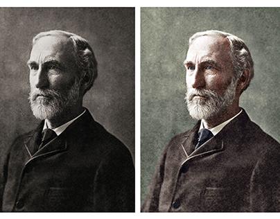 Colorisation of a photograph of Josiah Willard Gibbs