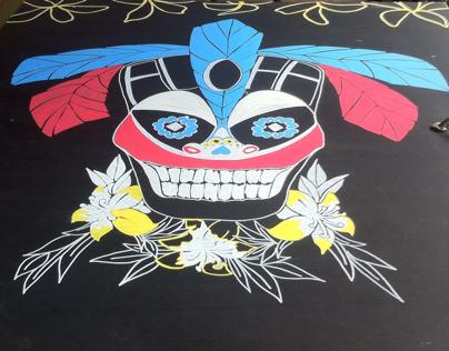 Day of the dead Tiki head illustration