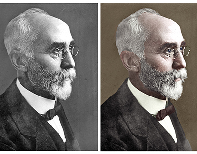 Colorisation of a photograph of Hendrik Lorentz