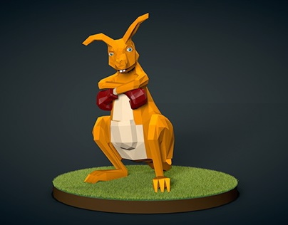 Low-Poly Kangaroo Turntable