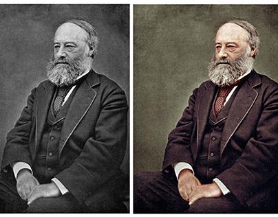 Colorisation of a photograph of James Prescott Joule