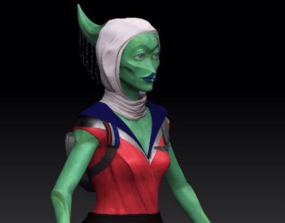 Intergalactic flight attendant sculpt