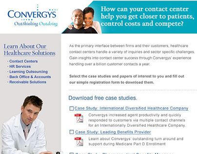 Banner ads and marketing landing pages for Convergys