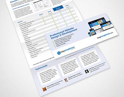 Troy Templeman Design Website Brochure