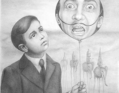 Dali as a Child gazing at a Balloon with his Adult Face