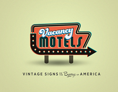 Vacancy Motels postcard illustrations