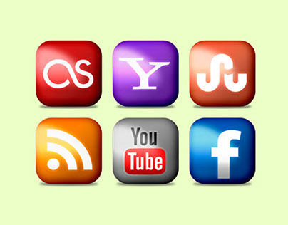 Social Media Icons Rounded and Glossy