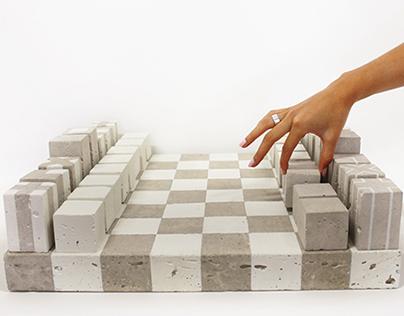 MATE. The concrete chess set