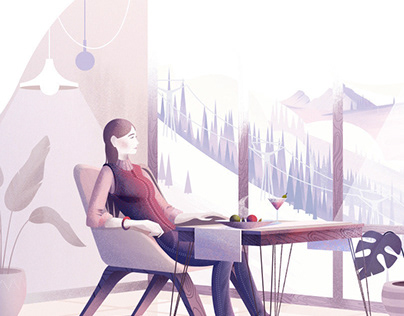 Illustrations for the hotel in Sheregesh, Siberia