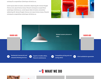 homepage design for painting organization