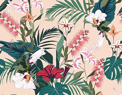 Seamless tropical pattern with palm leaves and flowers.