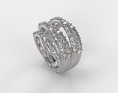 Five Lines Diamonds Ring