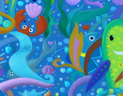 Underwater cartoon seamless pattern
