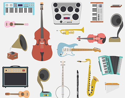 Musical Instruments Icons, Pattern & Branding