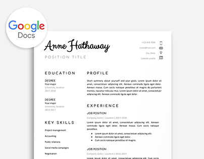 Google Docs Resume Projects Photos Videos Logos Illustrations