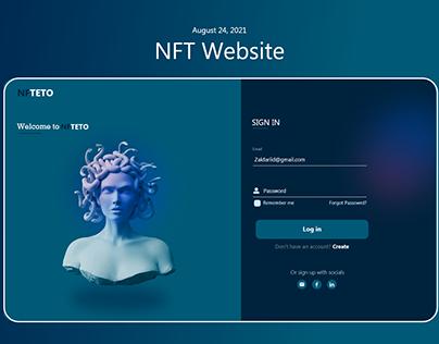 NFT Website login screen