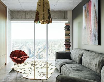 Apartment on 50s floor at Złota 44, Warsaw