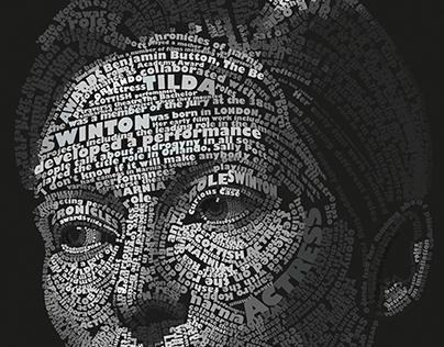 Font portrait of flawless Tilda Swinton