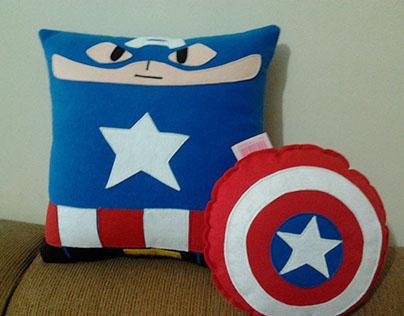 Handmade Classic Captain America w/ Shield Plush Pillow