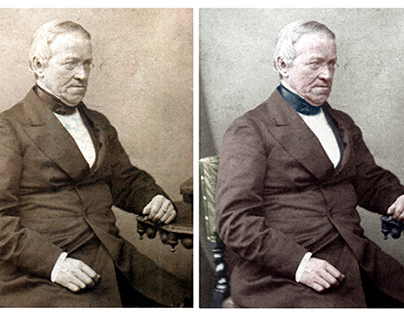 Colorisation of a photograph of Charles Wheatstone