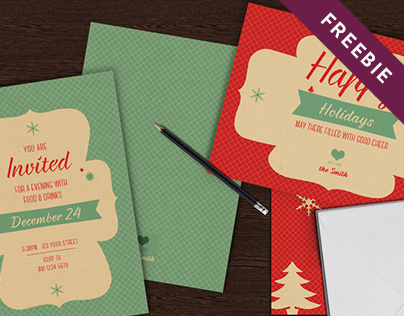 Christmas Greeting Card Set • Freebie