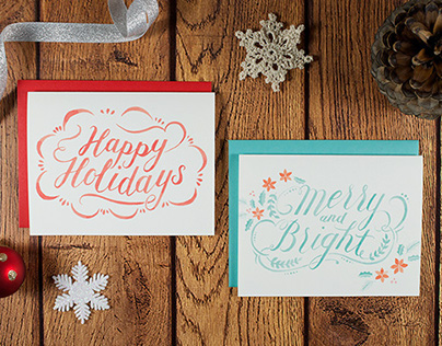 Flourish Holiday Card Set - watercolor hand lettering