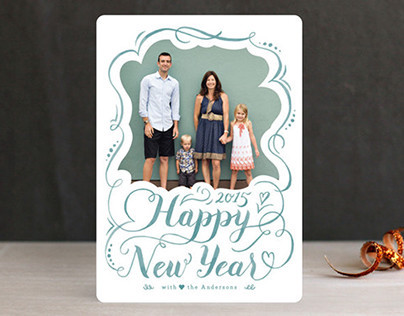 Pretty in Flourish New Year's Photo Cards