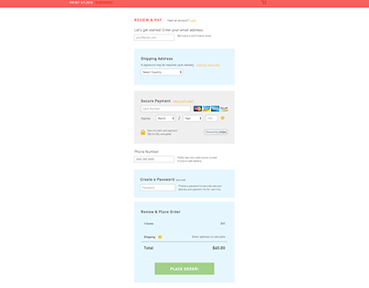 Printstagram Payment Page Redesign