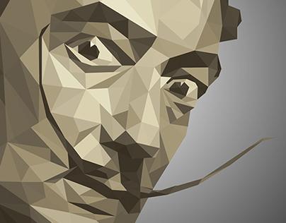 Low-Poly portrait Salvador Dali