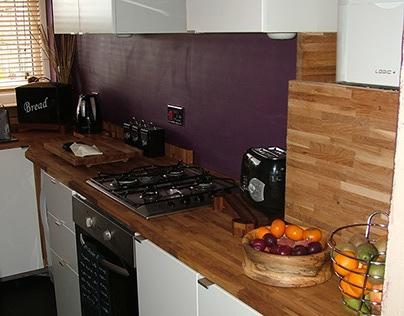 Bespoke Kitchen White Units and Oak worktops