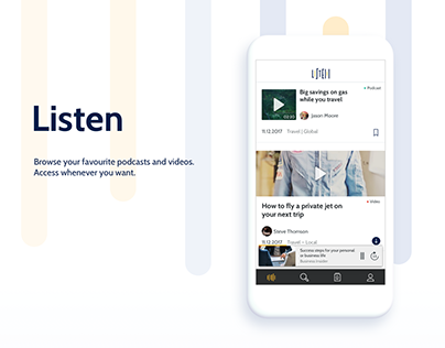 Listen – mobile app for audio and video content
