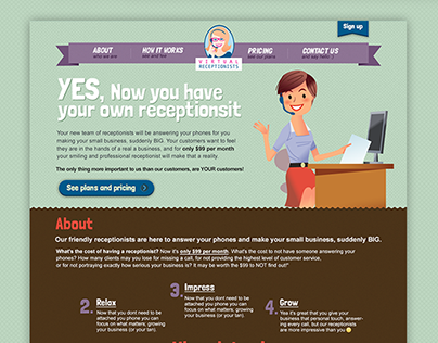 Virtual Receptionist - Landing Page