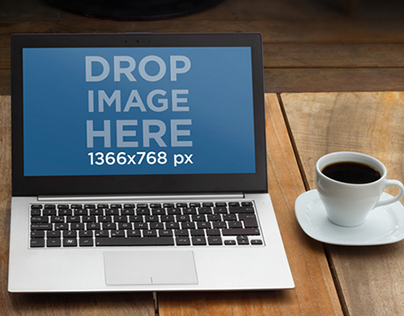 Laptop Mockup on a Wooden Table