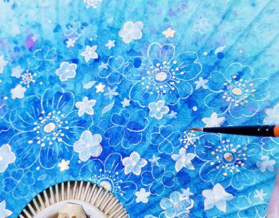 手绘水彩扇面