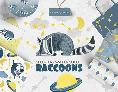 Watercolor Sleeping Baby Raccoons