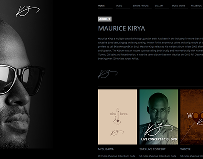 Maurice Kirya website - Personal Project
