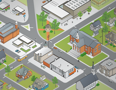 Isometric Town Illustration