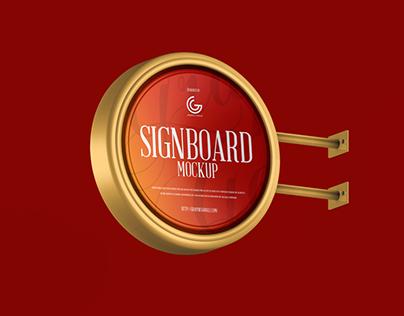 Free Round Metallic Signboard Mockup