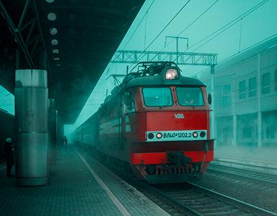 Train in the morning fog