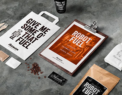 A concept work of package design: Robot Fuel Coffee
