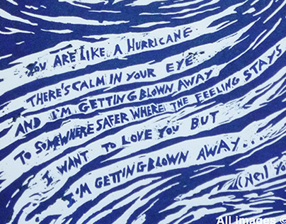 """""""Like a Hurricane"""" (Neil Young) Xylography"""