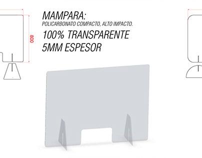Diseño Mampara Protectora Covid 19 de metacrilato