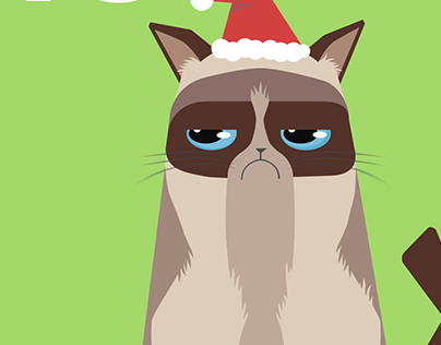 Grumpy Cat Christmas postcard