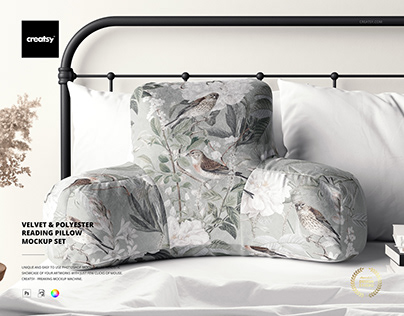 Velvet & Polyester Reading Pillow Mockup Set