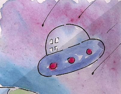 Watercolor Aliens Story