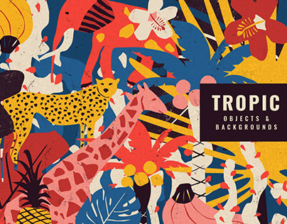 Retro Tropical Objects in Riso Style By CreativeFolks
