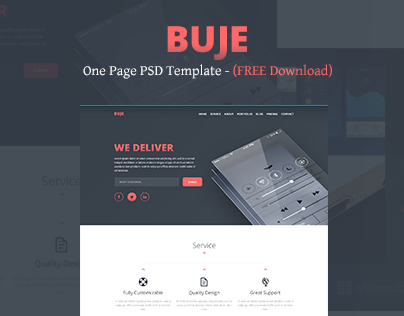 Buje - One Page PSD Template - (FREE Download)