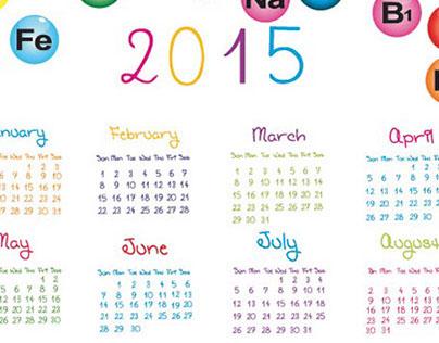 Glossy vitamins circle around 2015 Vector Calendar