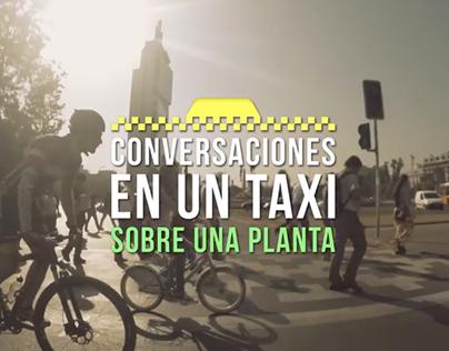 Conversaciones en un taxi sobre una planta
