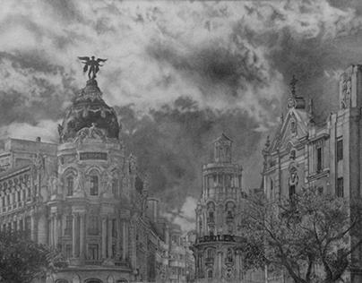 Gran Vía, Madrid. Graphite.